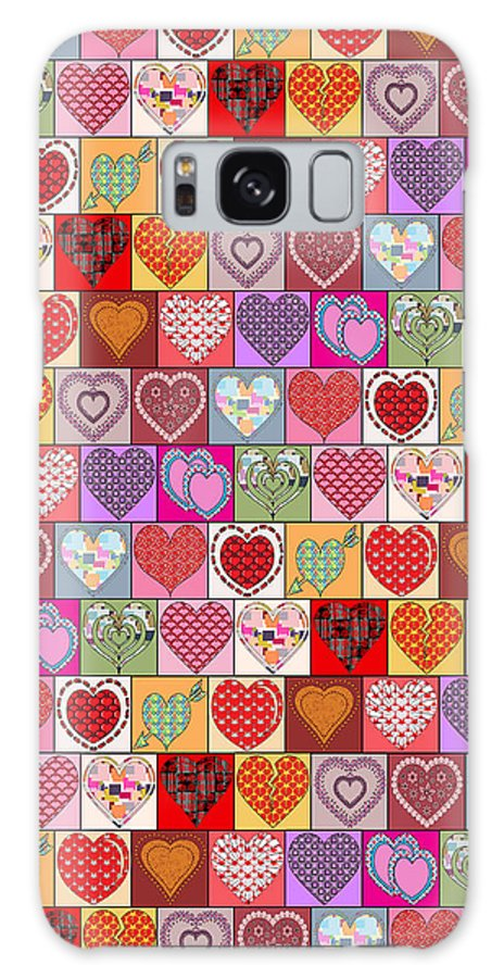 Hearts Galaxy S8 Case featuring the digital art Heart Patches by Vicki Podesta