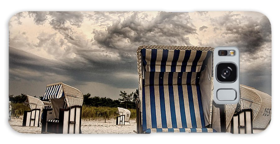 Ostsee Strand Sea Water Weather Clouds Strandkorb Stormy Thunderstorm Heavy Meer Sonne Urlaub Wasser Galaxy S8 Case featuring the photograph Heavy Times by Steffen Gierok