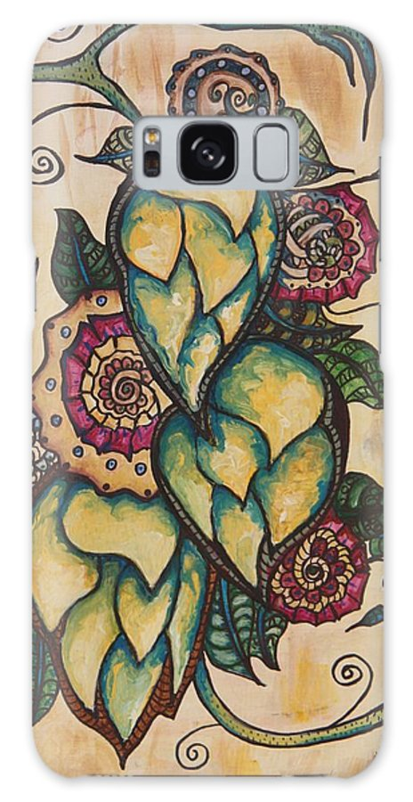 Henna Galaxy S8 Case featuring the painting Henna Hops Study 1 by Alexandra Ortiz de Fargher