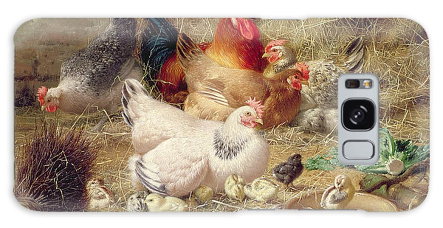 Bird Galaxy S8 Case featuring the painting Hens Roosting With Their Chickens by Eugene Remy Maes