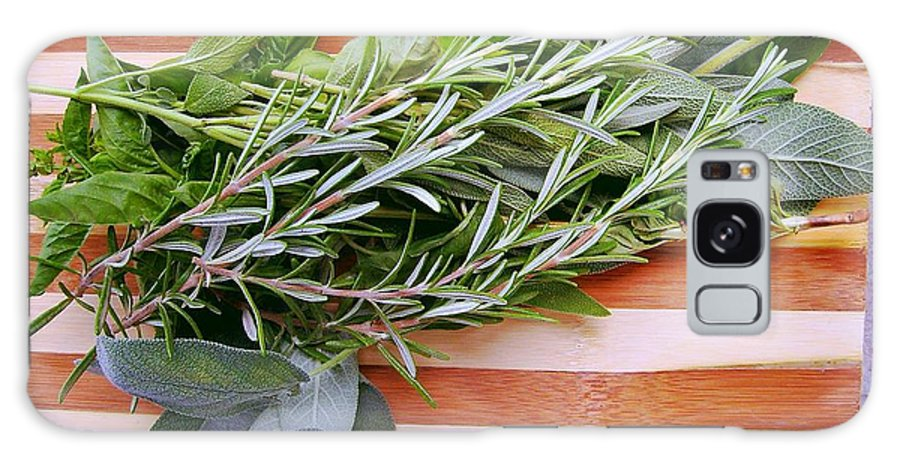 Rosemary Galaxy S8 Case featuring the photograph Herbs On Cutting Board by Nina Ficur Feenan