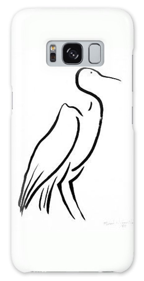 Calligraphy Galaxy Case featuring the drawing Heron by Micah Guenther