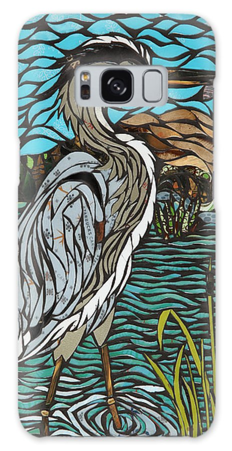 Heron Galaxy S8 Case featuring the mixed media Heron On Connor Creek by Mary Ellen Bowers