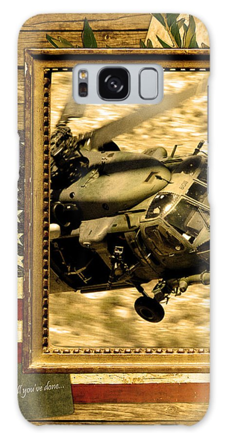 Hh-60  Galaxy S8 Case featuring the digital art Hh-60 Pave Hawk Rustic Flag by Reggie Saunders