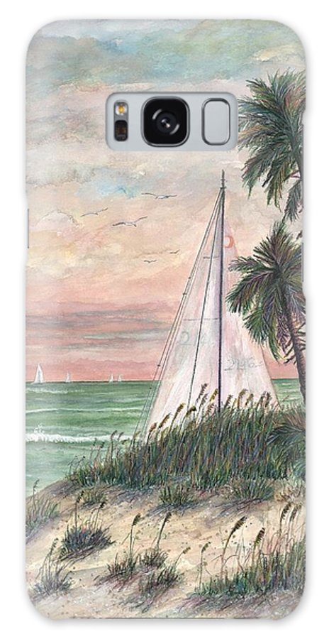 Sailboats; Palm Trees; Ocean; Beach; Sunset Galaxy S8 Case featuring the painting Hideaway by Ben Kiger