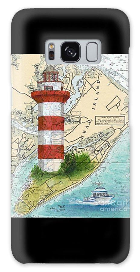 Hilton Galaxy S8 Case featuring the painting Hilton Head Island Lighthouse Sc Nautical Chart Map Art Cathy Peek by Cathy Peek