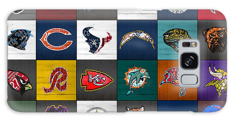Hit Galaxy S8 Case featuring the mixed media Hit The Gridiron Football League Retro Team Logos Recycled Vintage License Plate Art by Design Turnpike