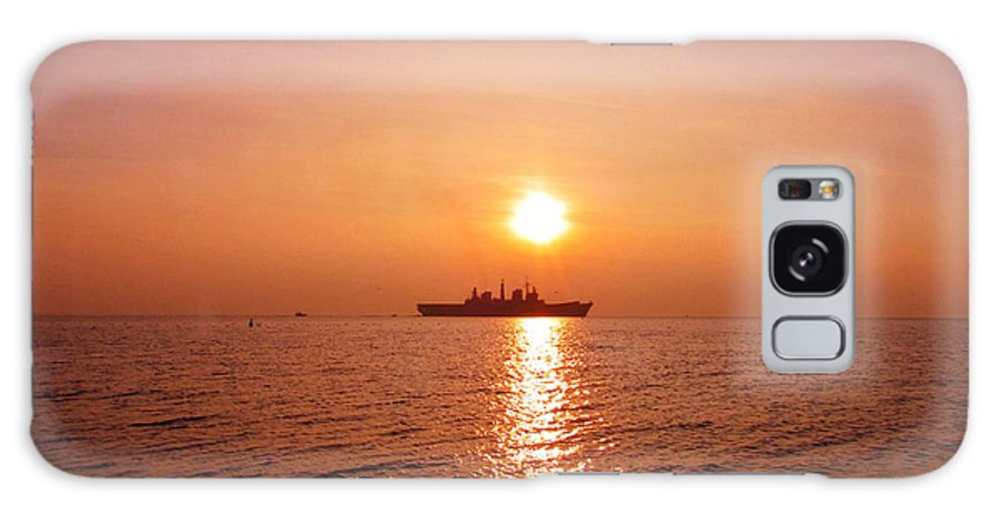 Aircraft Carrier Galaxy S8 Case featuring the photograph Hms Illustrious Leaving Liverpool by John Wain
