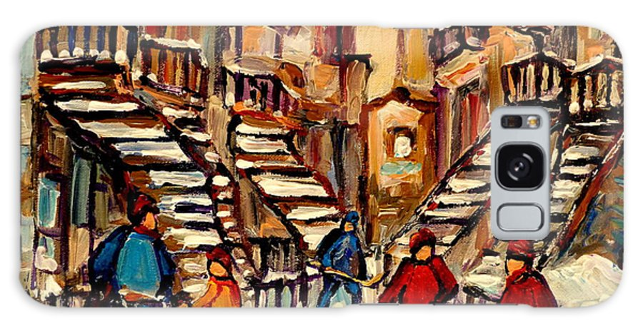 Montreal Galaxy S8 Case featuring the painting Hockey Game Near Winding Staircases Montreal Streetscene by Carole Spandau