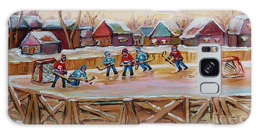 Country Hockey Rink Galaxy S8 Case featuring the painting Hockey Game-outdoor Hockey -beautiful Canadian Winter Landscape-hockey Heroes-carole Spandau by Carole Spandau