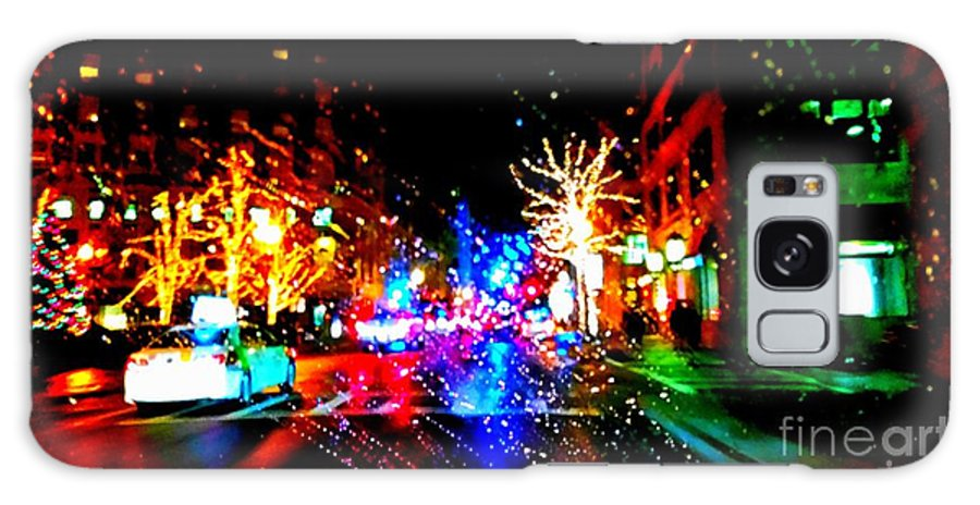 Holiday Light In Boston. Night Light. Stree Of Holiday Season. Christman Light. Building. Trees Decoration. Greeting Cards. Women Art. Photograph. Natural Beauty. Landscape. Rose Wang Art. Rose Wang Image. Galaxy S8 Case featuring the photograph Holiday Light At Night by Rose Wang