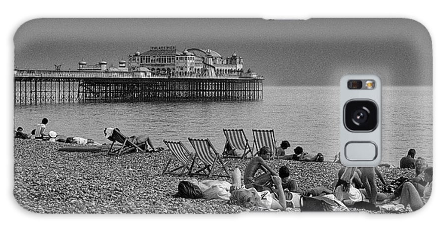Brighton Galaxy S8 Case featuring the photograph Holiday Makers On Brighton Beach by Peter Scholey