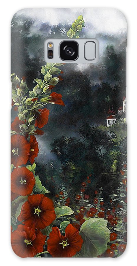 Flowers Galaxy S8 Case featuring the painting Hollyhocks by Lynette Yencho