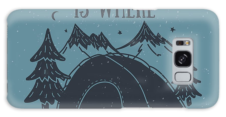 Symbol Galaxy Case featuring the digital art Home Is Where The Tent Is Hand-drawn by Wild0wild