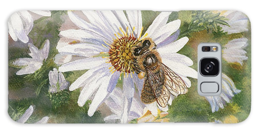 Honeybee Galaxy S8 Case featuring the painting Honeybee On White Aster by Lucinda V VanVleck