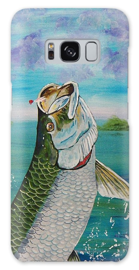 Tarpon Galaxy S8 Case featuring the painting Hooked by Richard Goohs
