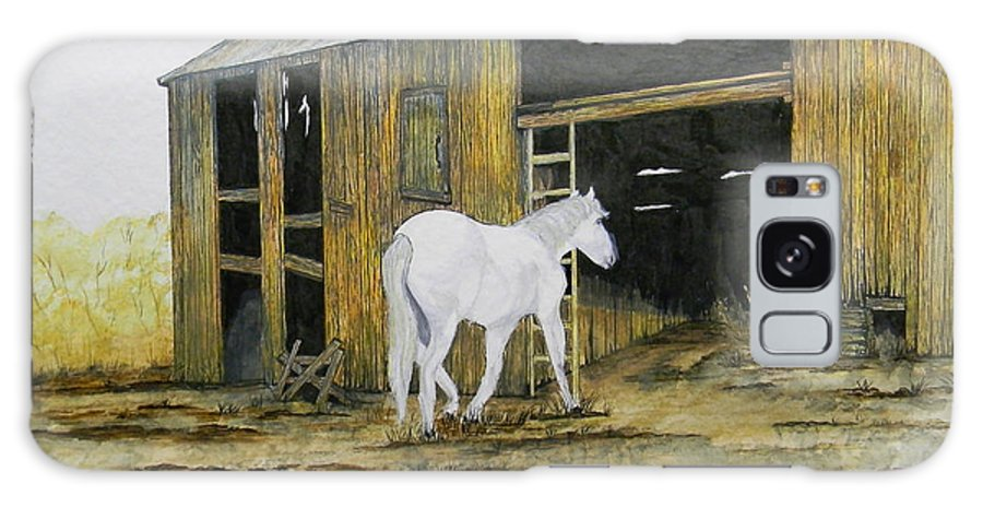 Horse Galaxy S8 Case featuring the painting Horse And Barn by Bertie Edwards