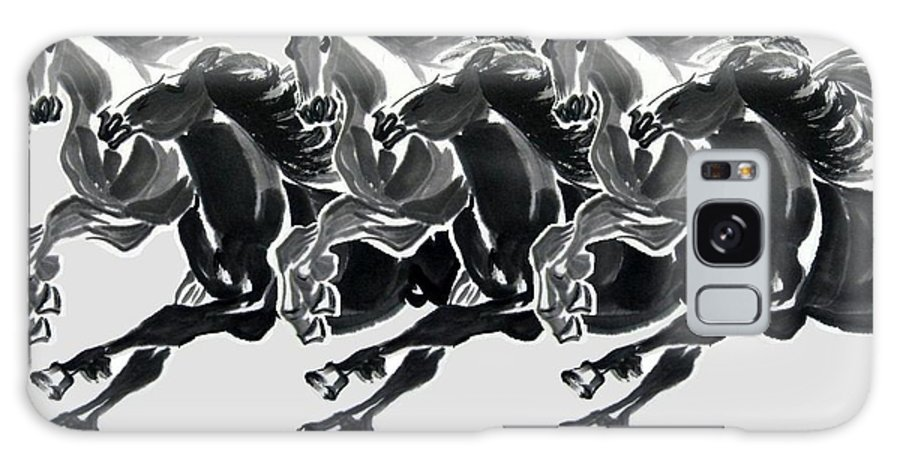 Horses Galaxy S8 Case featuring the painting Horses by Rajesh Kalbhor