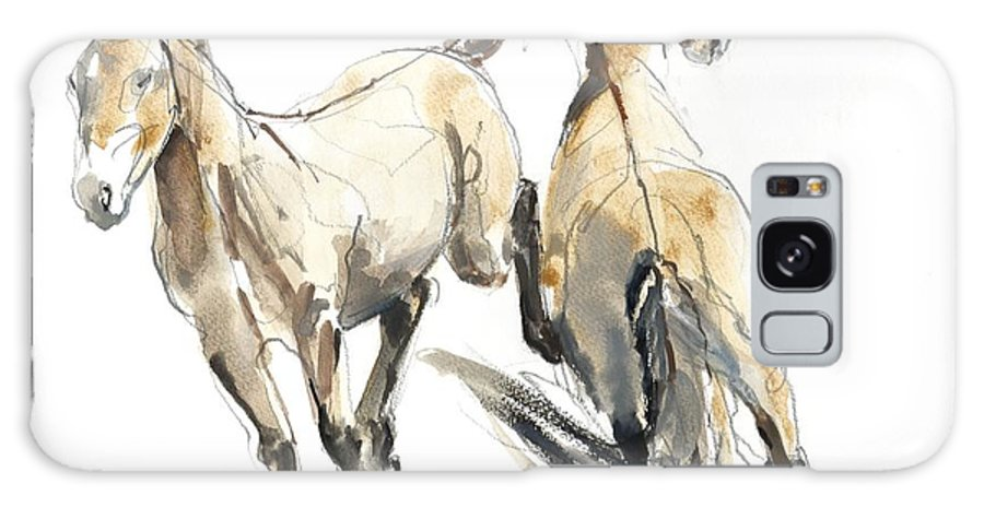Horse Galaxy S8 Case featuring the photograph Horsing, 2013 Watercolour And Pigment On Paper by Mark Adlington