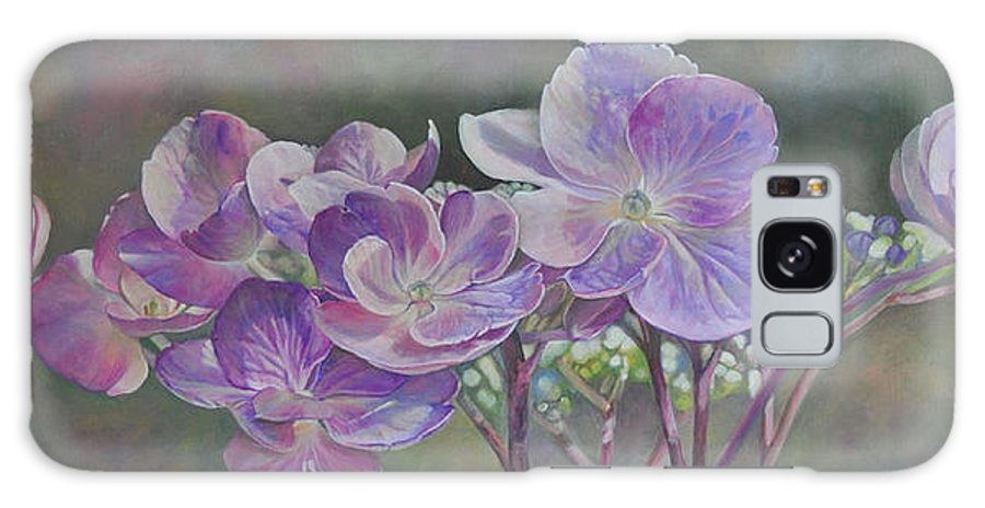 Acrylic Galaxy Case featuring the painting Hortensia de St Jean by Muriel Dolemieux