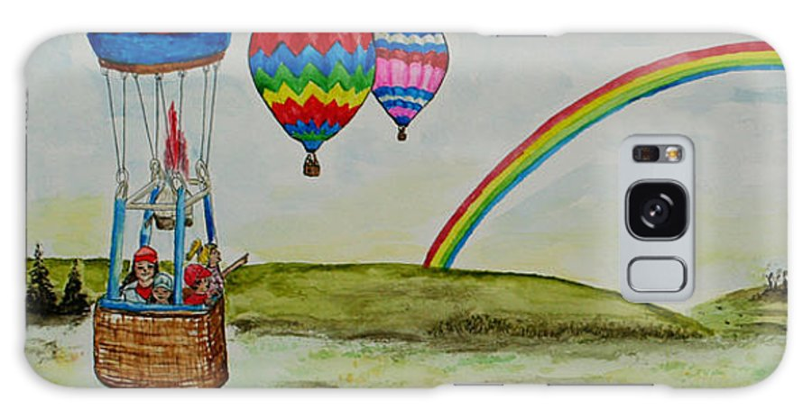 Hot Air Galaxy S8 Case featuring the painting Hot Air Balloon Rainbow by Janis Lee Colon
