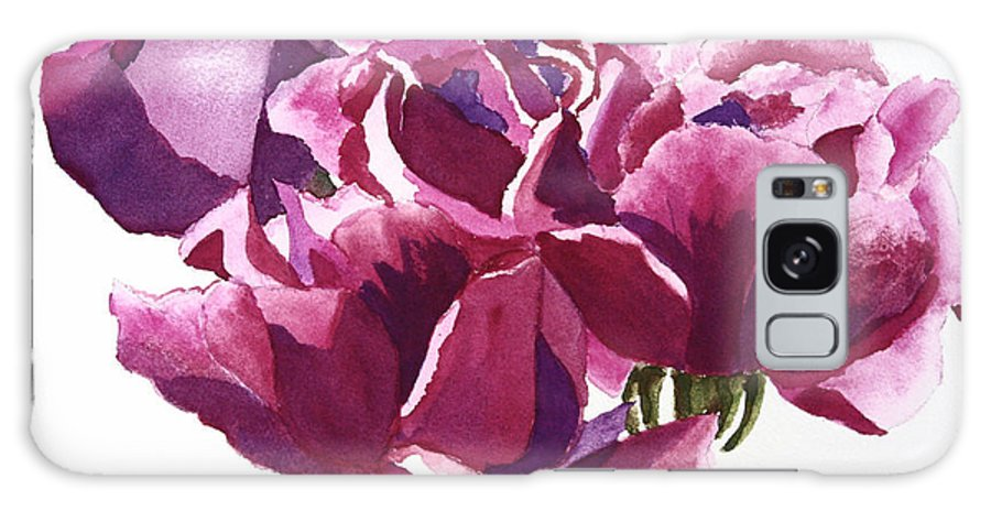 Flower Galaxy Case featuring the painting Hot Pink Roses by Patricia Novack