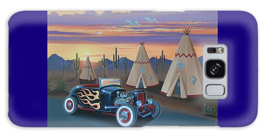 Hot Rod Galaxy S8 Case featuring the painting Hot Rod At The Wigwams by Stuart Swartz