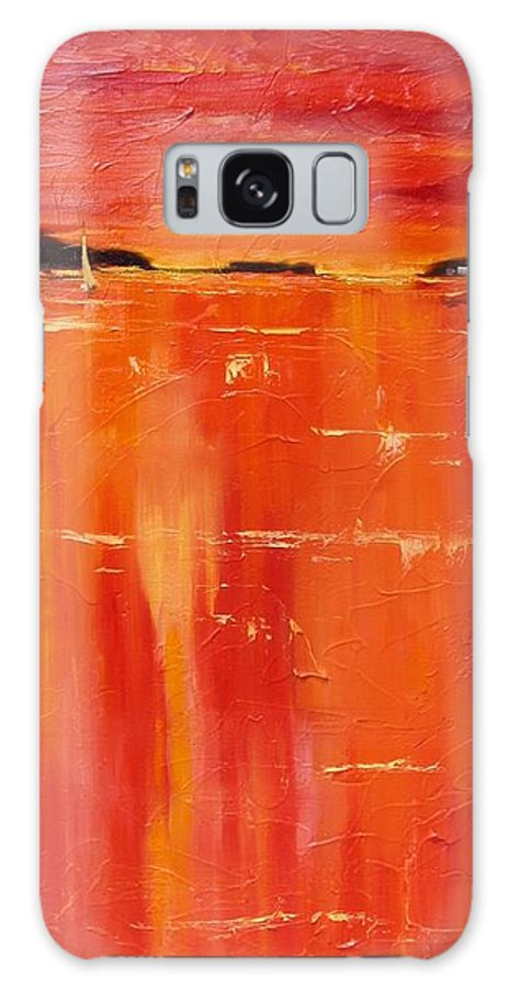 Sun Set Galaxy S8 Case featuring the painting Hot Shot Two by Laura Lee Zanghetti