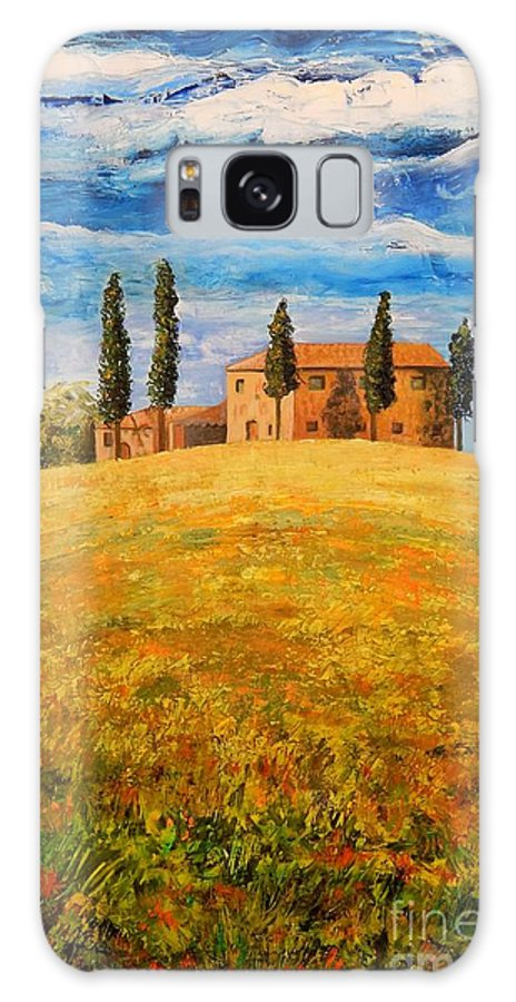 Tuscan Landscape Galaxy S8 Case featuring the painting House On The Hill by Caroline Street