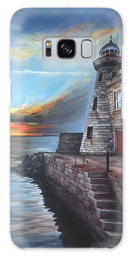 Lighthouse Galaxy S8 Case featuring the painting Howth Harbour Lighthouse by Dominika Stec