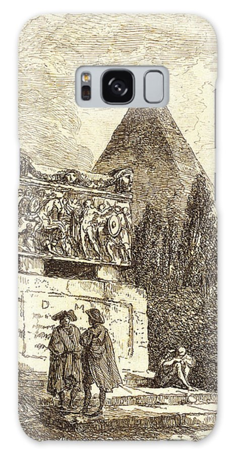 Hubert Galaxy S8 Case featuring the drawing Hubert Robert, French 1733-1808, The Sarcophagus by Litz Collection