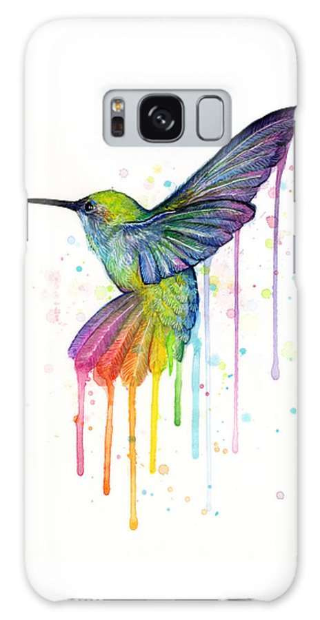 Hummingbird Galaxy Case featuring the painting Hummingbird of Watercolor Rainbow by Olga Shvartsur