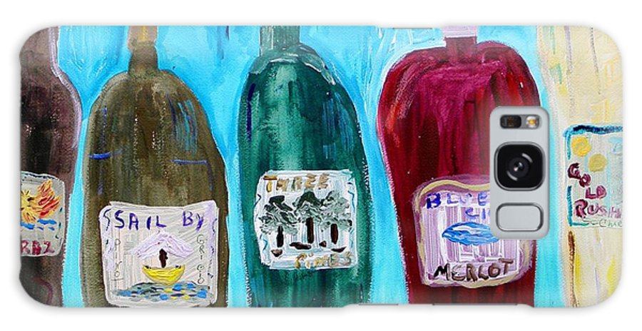 Wine Label Galaxy S8 Case featuring the painting I Choose Wine By The Label by Mary Carol Williams