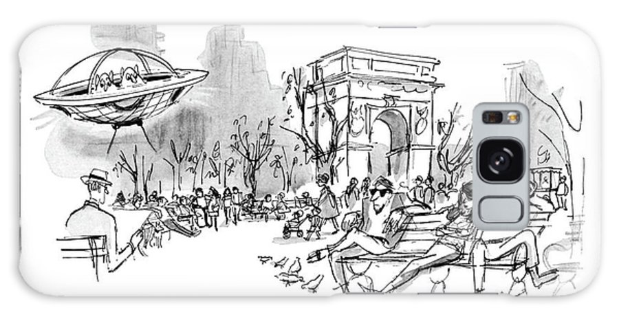 Space Creatures Talking In Their Flying Saucers. People In Washington Square Pay No Heed To Them. Jaded New Yorkers Cynical City Urban Life Middle America Space Aliens Extra Terrestrials Travel Mars Martian Shuttle Rocket Ship Alien Orbit -rdm  Regional Ufo Nyc Manhattan Spaceship Spaceships Oblivious Events Sighting Sightings 68095 Efr Edward Frascino Galaxy S8 Case featuring the drawing I Don't Understand It. They Loved Us In Michigan by Edward Frascino