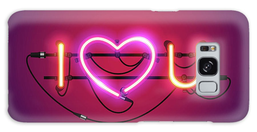 Art Galaxy Case featuring the digital art I Love You With Pink Heart Neon Sign by Voysla