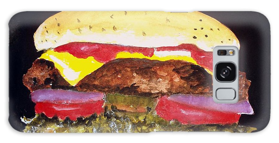 Hamburgers Galaxy S8 Case featuring the painting I Really Love Hamburgers by Carol Grimes