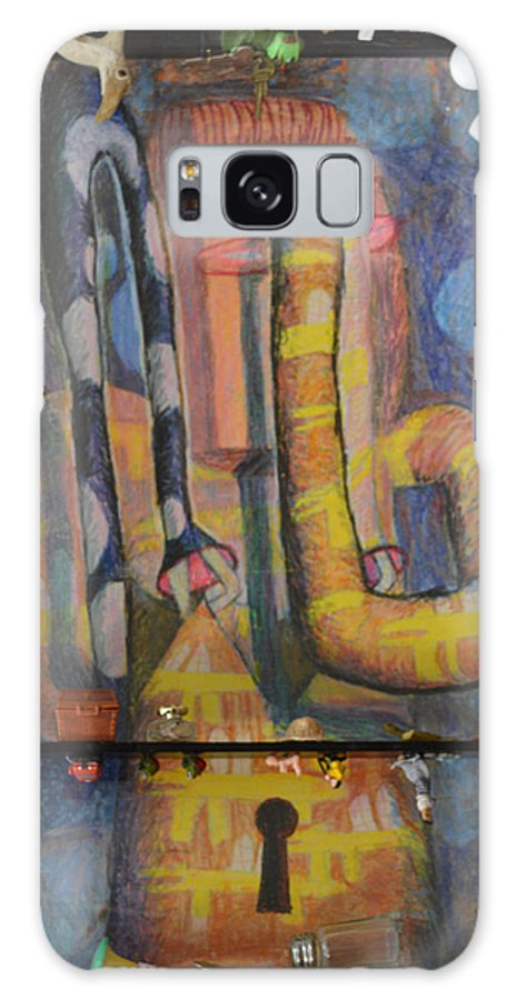Abstract Modern Outsider Raw Arm Figure Dress Design Keyhole Yellow Blue Folk Surreal Arm Galaxy S8 Case featuring the painting I Wouldn't Touch This Dress With A Ten Foot Pole by Nancy Mauerman