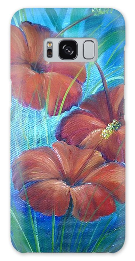 Flowers Galaxy S8 Case featuring the painting Ibiscos Del Corazon by Jaime Zamora