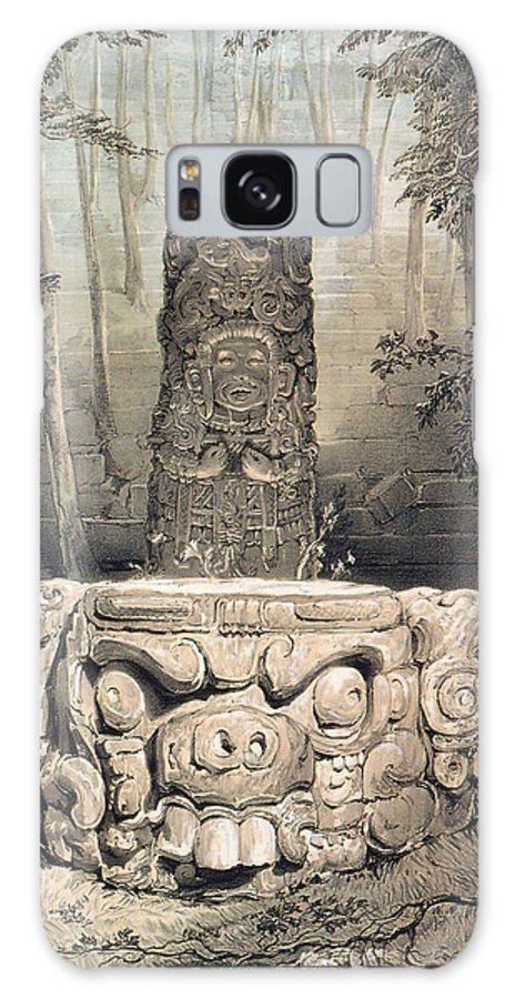 Catherwood Galaxy S8 Case featuring the digital art Idol And Altar At Copan by Frederick Catherwood