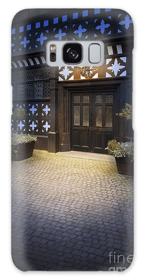 Tudor Galaxy S8 Case featuring the photograph Illuminated Lamp Above The Doorway Of A Timber Framed Tudor Buil by Lee Avison