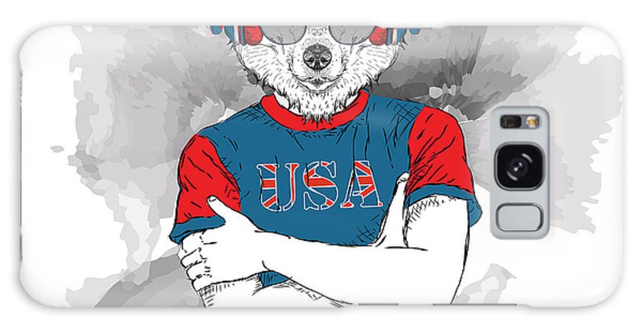 Usa Galaxy Case featuring the digital art Illustration Of Wolf Dressed Up In The by Sunny Whale