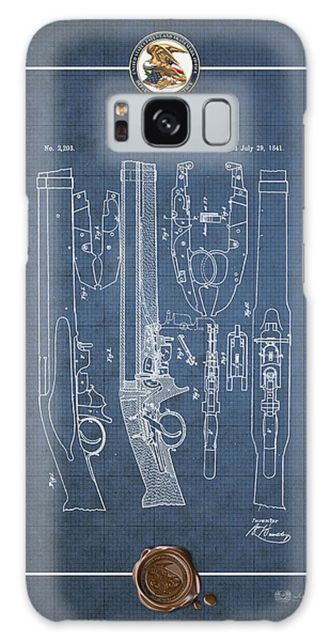 C7 Vintage Patents Weapons And Firearms Galaxy S8 Case featuring the digital art Improvement To Muzzle-loading Fire-arm - Vintage Patent Blueprint by Serge Averbukh