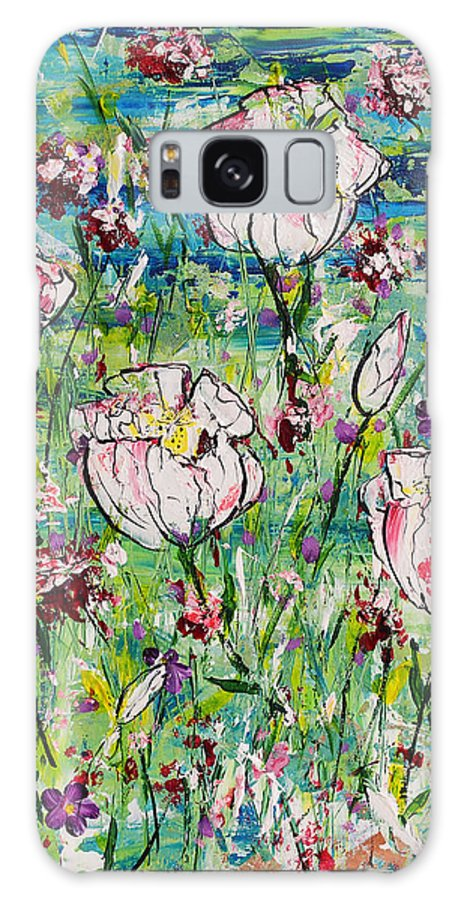 White Flowers Galaxy S8 Case featuring the painting In Bloom by Wendy Provins