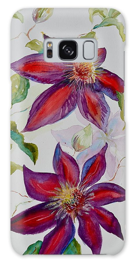 Clematis Galaxy S8 Case featuring the painting In Grandpa's Garden by Beverley Harper Tinsley