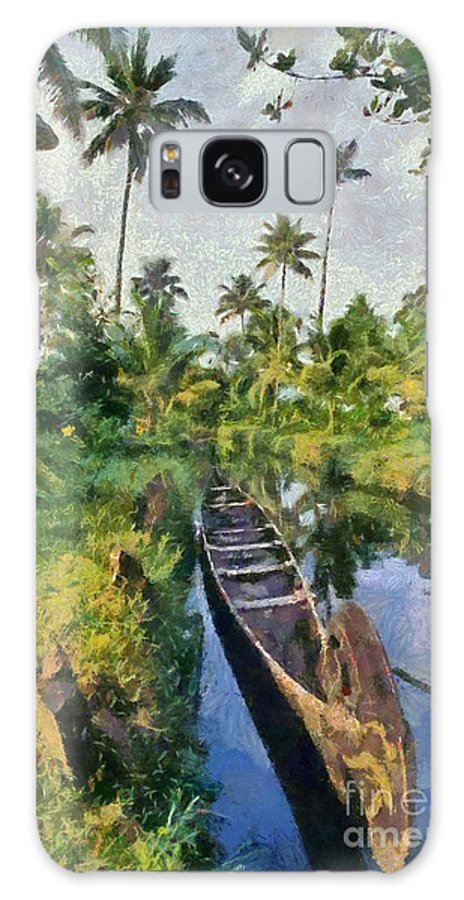 India; Kerala; Boat; River; Canal; Backwaters; Water; Asia; East; Eastern; Holidays; Vacation; Travel; Trip; Voyage; Journey; Tourism; Touristic; Paint; Painting; Paintings Galaxy S8 Case featuring the painting In The Backwaters Of Kerala by George Atsametakis