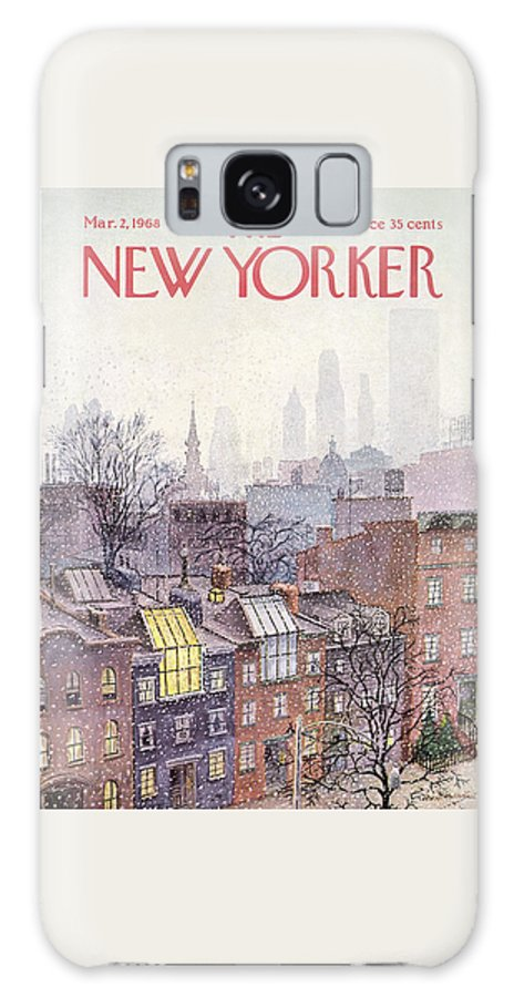 Albert Hubbell Ahu Galaxy Case featuring the painting New Yorker March 2, 1968 by Albert Hubbell