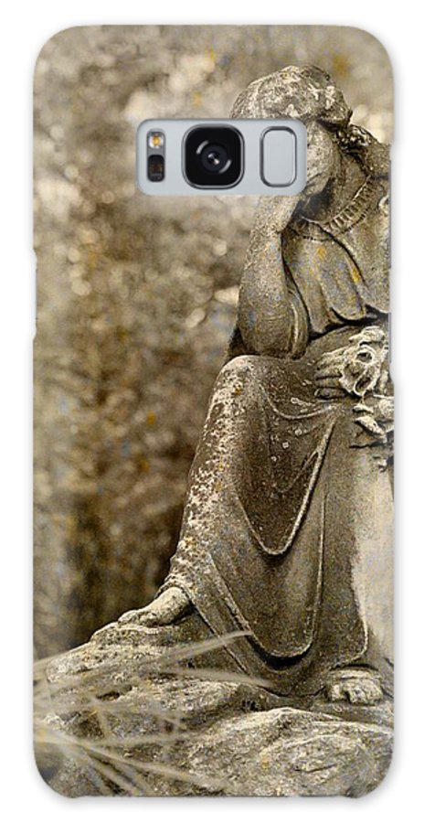 Stone Angel Galaxy S8 Case featuring the mixed media In Thought by Gothicrow Images