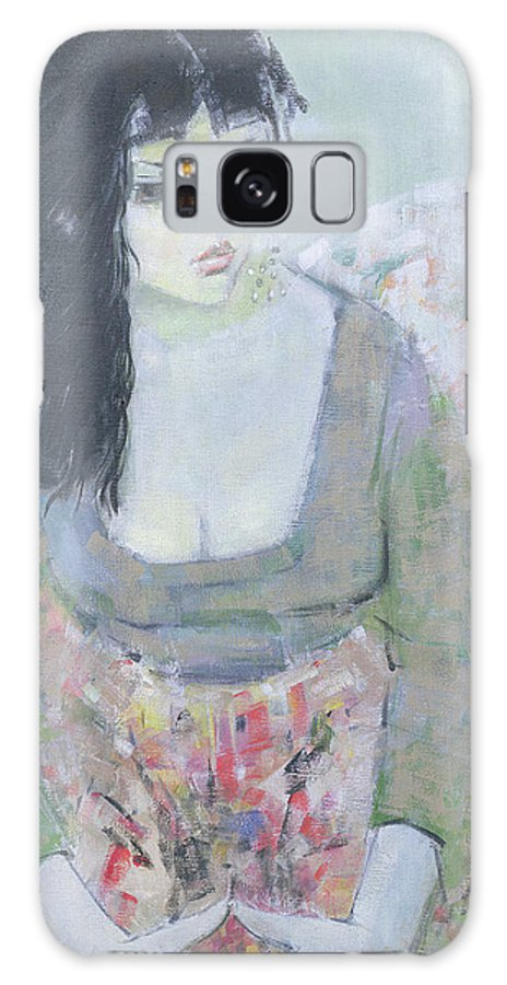Female Galaxy S8 Case featuring the photograph Indian Earring Dark-haired Girl In Green Oil On Canvas by Endre Roder