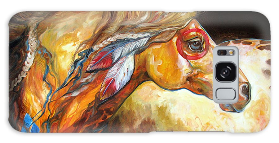 Horse Galaxy S8 Case featuring the painting Indian War Horse Golden Sun by Marcia Baldwin