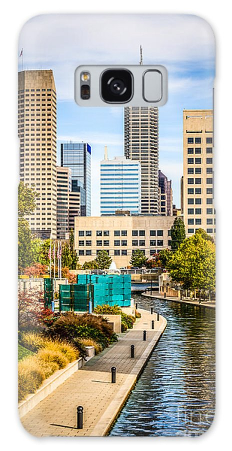 America Galaxy S8 Case featuring the photograph Indianapolis Skyline Picture Of Canal Walk In Autumn by Paul Velgos